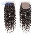 Guangzhou new star hair, middle parted natural color 100% unprocessed deep wave Silk Base  closure, 4*4 bleached knots