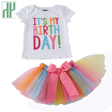 Toddler girls summer clothing Set kids Unicorn Rainbow Tutu birthday skirt christmas party outfits 2018 casual children
