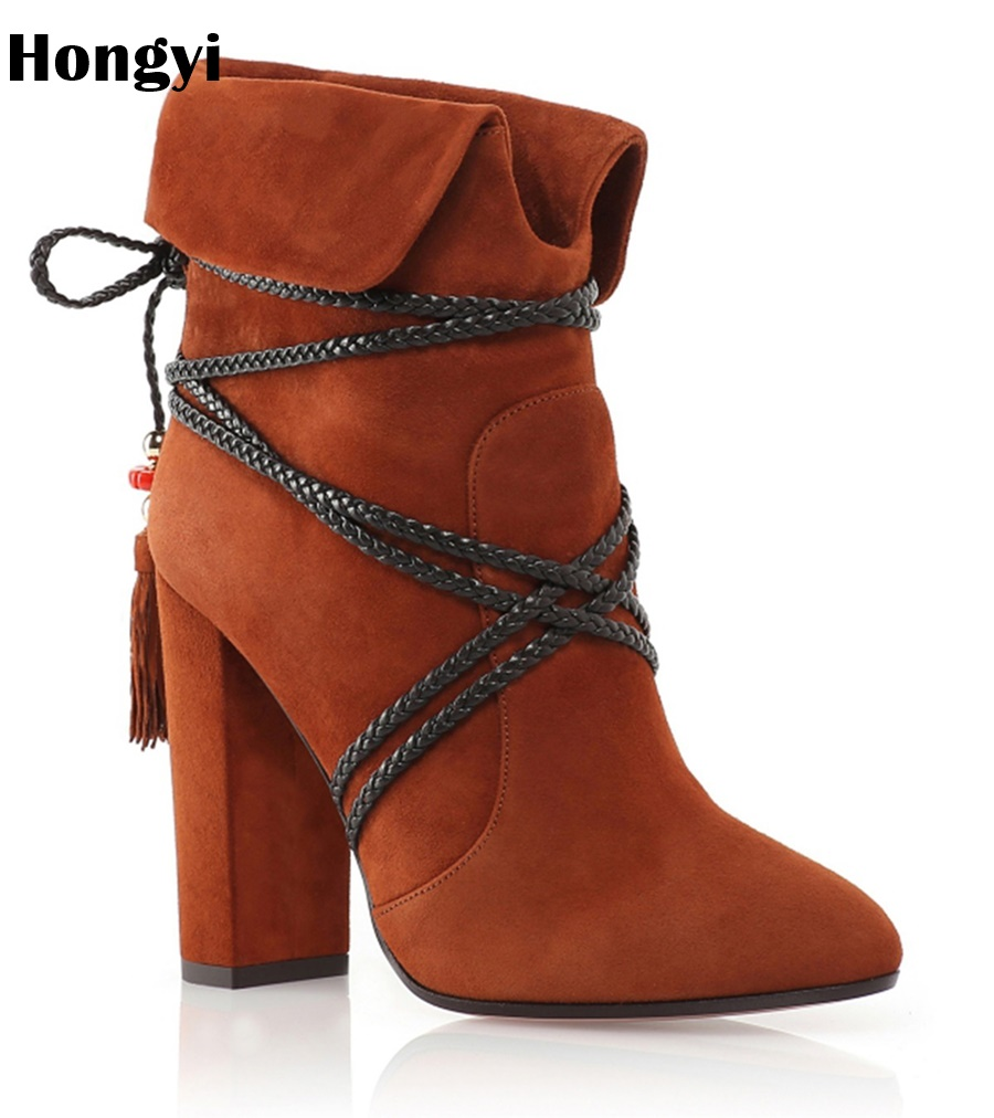 Hongyi Autumn Women's Shoes 2018 Female Ankle Boots Fashion Lace High Heel Boots Pointed Toe Tassel  Ladies Boots Botas Mujer front lace up casual ankle boots autumn vintage brown new booties flat genuine leather suede shoes round toe fall female fashion