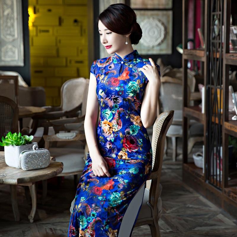Blue font b Women s b font Cheongsam font b Fashion b font Chinese Style Dress