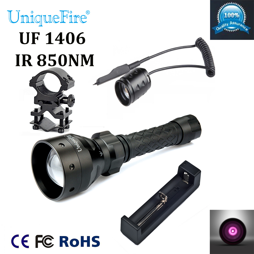 UniqueFire UF-1406 T50 Hunting Zoomable Flashlight with 850NM IR LED f. Night Vision Portable Lighting+GunMount+Rat Tail+Charger uniquefire uf 1508 75 ir 850nm zoomable 3 modes led flashlight rat tail gun mount charger infrared light night vision torch