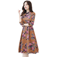2018 Winter Women casual Dress Female Russian Elegant Knee Length printing dress Spring Autumn vestido de festa dresses YM113