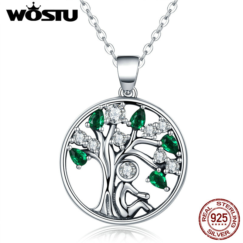 WOSTU New Arrival Real 925 Sterling Silver Relying in the Tree Pendant Necklaces For Women Luxury Fine Jewelry Gift CQN094 wostu 2018 luxury brand 925 sterling silver heart love pendant necklaces for women with aaa zircon jewelry gift for lover cqn025