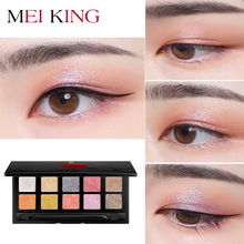 MEIKING 10-color Eyeshadow tray Fashion eyeshadow Shiny eye shadow Waterproof Peach flower and Smoked color New Long-lasting
