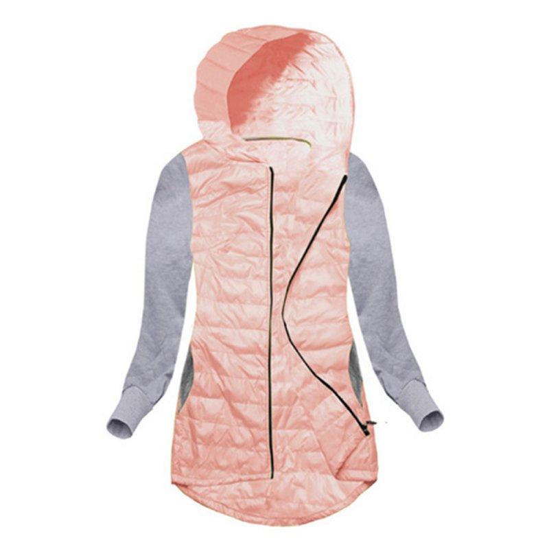 Women Winter Parkas Jacket  Coat Cool Basic Cotton Spliced Jacket Patch Irregular Zipper Outwear