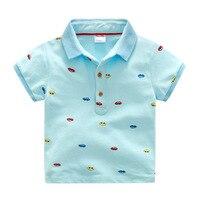 Summer Cotton Covered Cartoon Car Taxi Print Turn Down Collar Baby Boys Polo Shirt Kids Tee