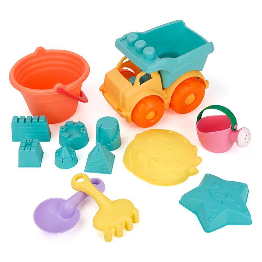 11PCS/Set Children Summer Beach Bucket Toy Set Soft Play Sand Hourglass Shovel Bath
