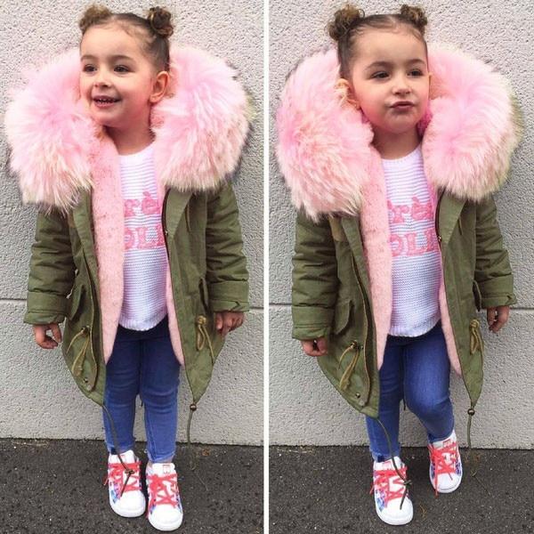 פעוט ילדי ילדי מעיל ילדה מעיל חורף מעיל עבה חם כותנה סלעית Parka להאריך ימים יותר manteau fille casaco menina C3