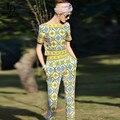 2016 Взлетно-Посадочной Полосы Дизайнер Одежда Устанавливает женщин С Коротким Рукавом Печатный Топы + Длинные Брюки Случайные Twinset