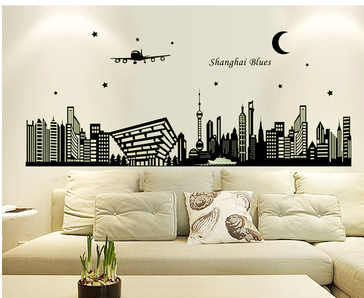 The new fluorescent paste luminous paste office bedroom decoration Shanghai city night glow wall stickers QL-114