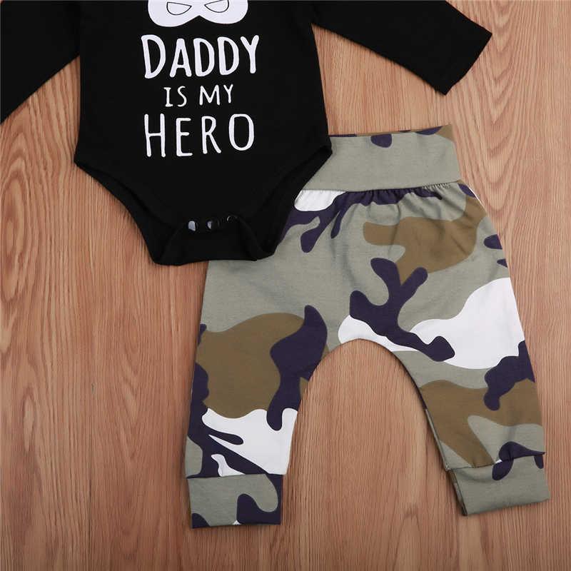 Pudcoco pasgeboren kids Baby boy papa is mijn hero brief katoenen kleding Lange Mouwen Bodysuit + camouflage Broek Outfits kleding Set