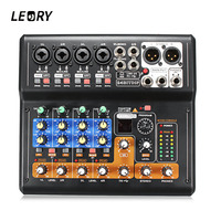 LEORY Mini 8 Channel Karaoke Audio Mixer Microphone Sound Digital Mixing Amplifier Console With USB Built in 48V Phantom Power