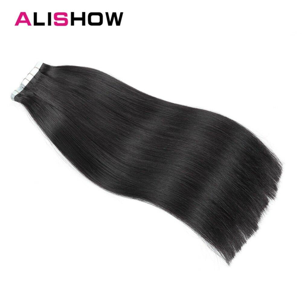 Zielsetzung Alishow Band In Remy Menschenhaar Verlängerung 20 Teile/paket 16-24 Doppel Seitige Natürliche Menschliches Haar Extensions Pu Gerade Haar Stück Haarverlängerung Und Perücken