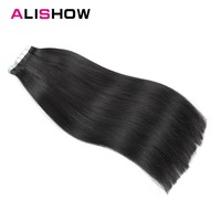Alishow Tape In Remy Human Hair Extension 20pcs/pack 16 24 Double Sided Natural Human Hair extensions PU straight hair pieces