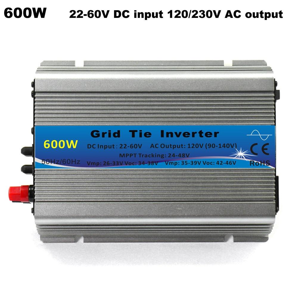цена на 600W MPPT micro Grid Tie Inverter 30V 36V Panel 72 Cells Function Pure Sine Wave 110V 220V Output On Grid Tie Inverter 22-60V DC