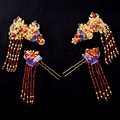 Chinese Wedding Jewelry Sets Headdress Classical Bridal Hair Accessories Gold Plated Red Crystal Hairclips Hairpins Step Shake
