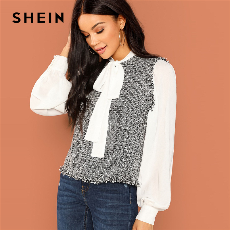 SHEIN Weekend Casual Black And White Frayed Trim 2 In 1 Stand Collar Blouse Women Long Sleeve Autumn Elegant Minimalist Blouses