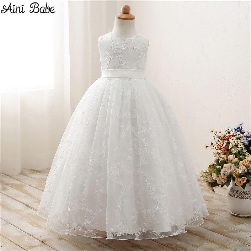 Aini Babe Bambini Fantasia Bambini Prom Gown Designs Little Baby ragazza Abiti Del Partito Ragazza di Fiore Bianco Tulle Abito Da Sposa Ragazza vestiti