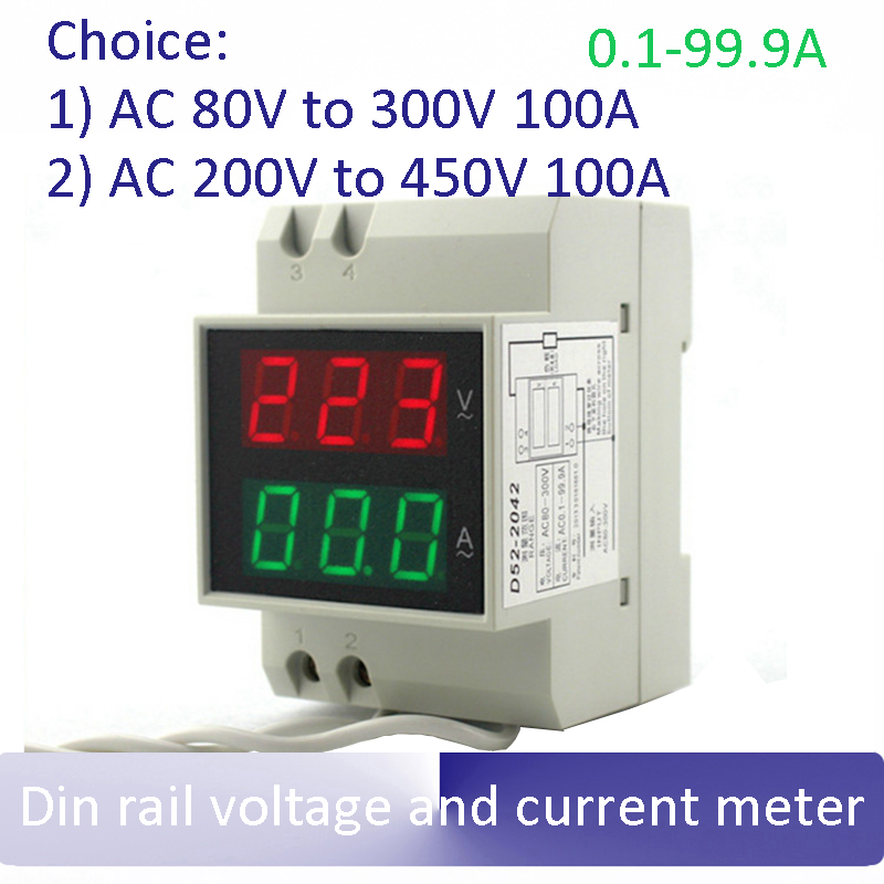 LED display Voltage and current meter Dual Din rail voltage and current meter voltmeter ammeter AC 80-300V or 200-450V 0.1-99.9A ts 2041 80 300v 0 50a 6 digit voltage current meter black