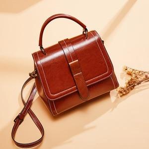 Image 2 - Zency Retro Brown Women Tote Handbag 100% Genuine Leather Daily Casual Shopping Messenger Shoulder Bag Luxury Dark Red Black