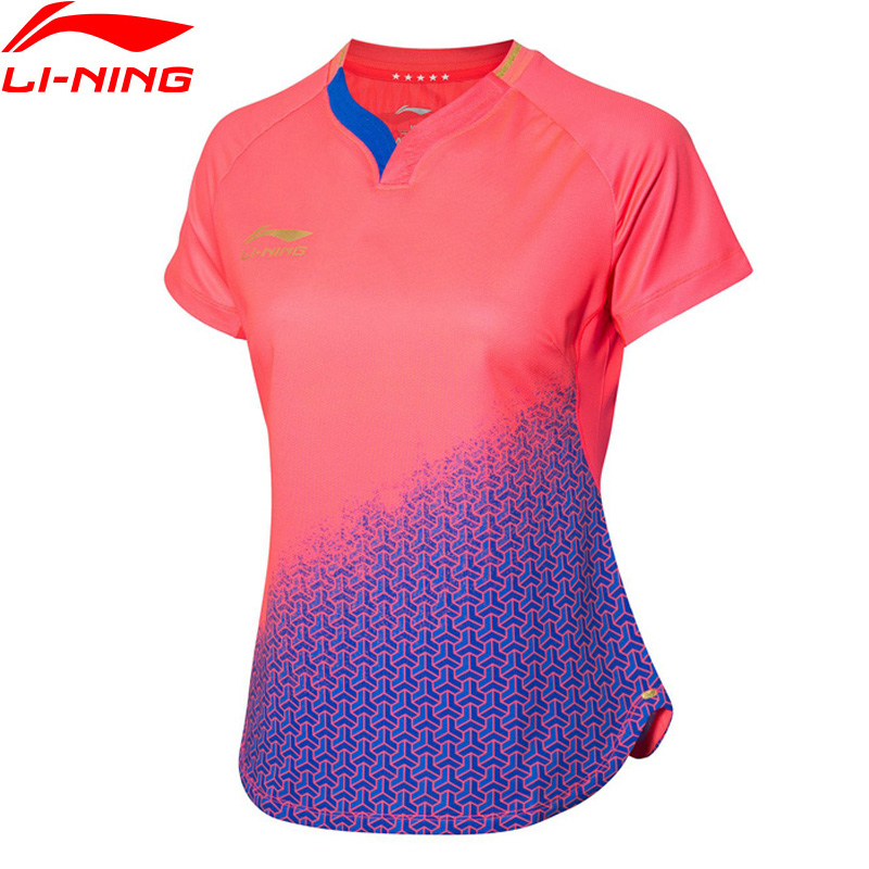 Li-Ning Women Table Tennis Competition Suit for National Team T-Shirt AT DRY Breathable LiNing Sports Tee AAYP072 AMJ19(China)