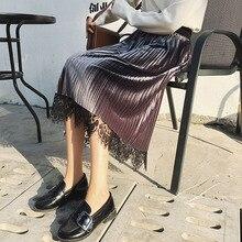 UPPIN Doubleface Золотая Бархатная и кружевная юбки женские с высокой талией до середины икры эластичная Женская юбка плиссированные длинные миди юбки Femme Jupe