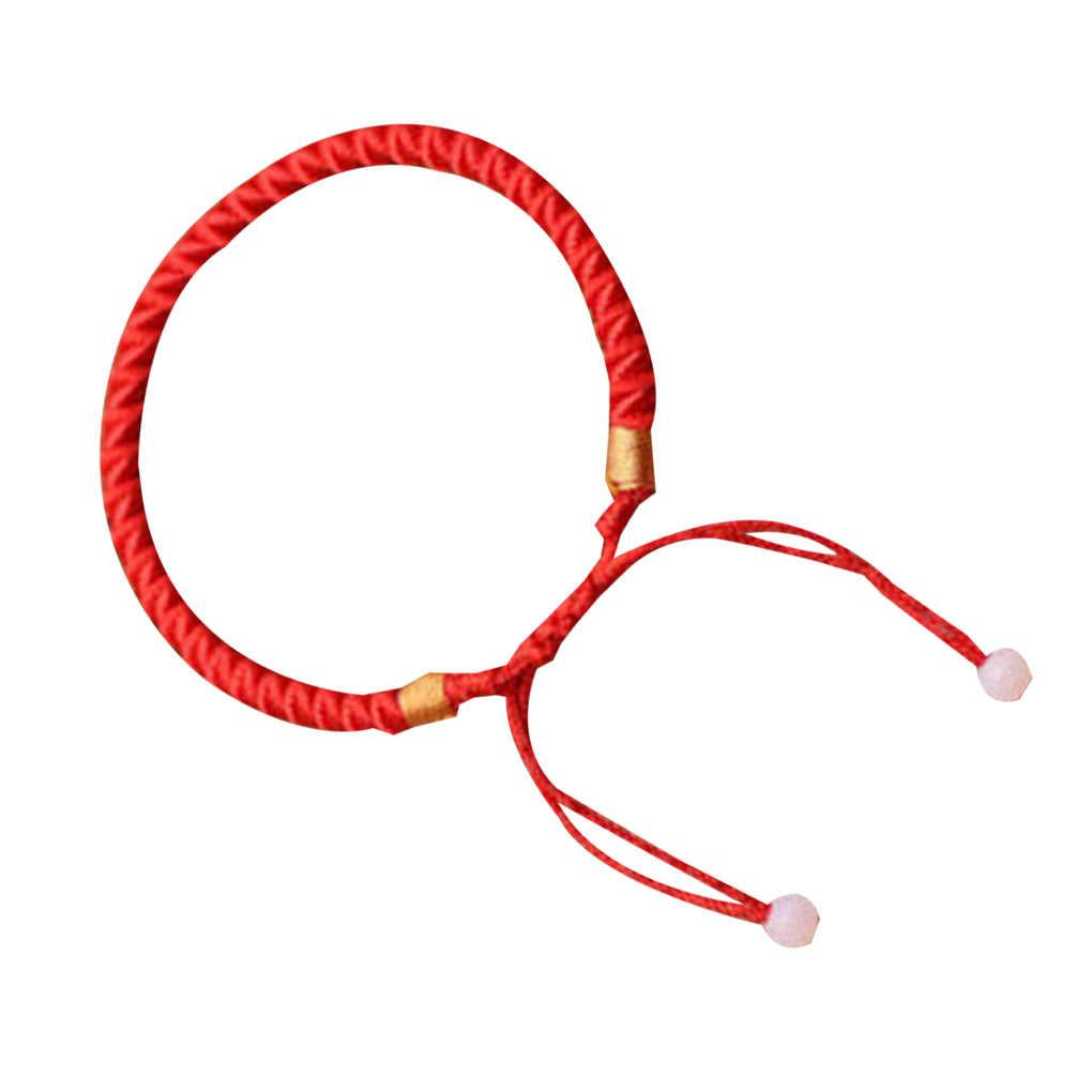 男性女性幸運リストバンド編組ラッキーバングル赤文字列ロープコードブレスレットの宝石類のギフト