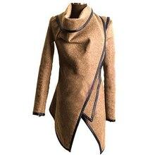 2017 New Autumn Fashion Irregular Trench Coat Women Long Overcoats Solid Coat Female Warm Long Sleeve Zipper Overcoat AQ901663