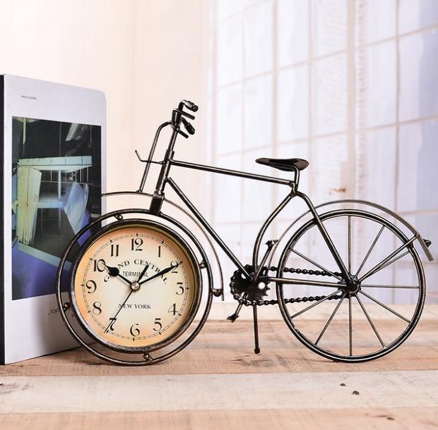 Horloge de bureau Vintage en fer forgé Antique décorative Europe horloge de Table de vélo chambre muet décor à la maison aiguille montres LF80