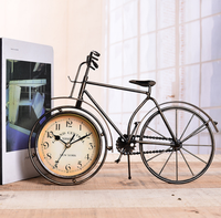 Vintage Wrought Iron Desk Clock Antique Decorative Europe Bicycle Table Clock Bedroom Mute Home Decor Needle Watches LF80