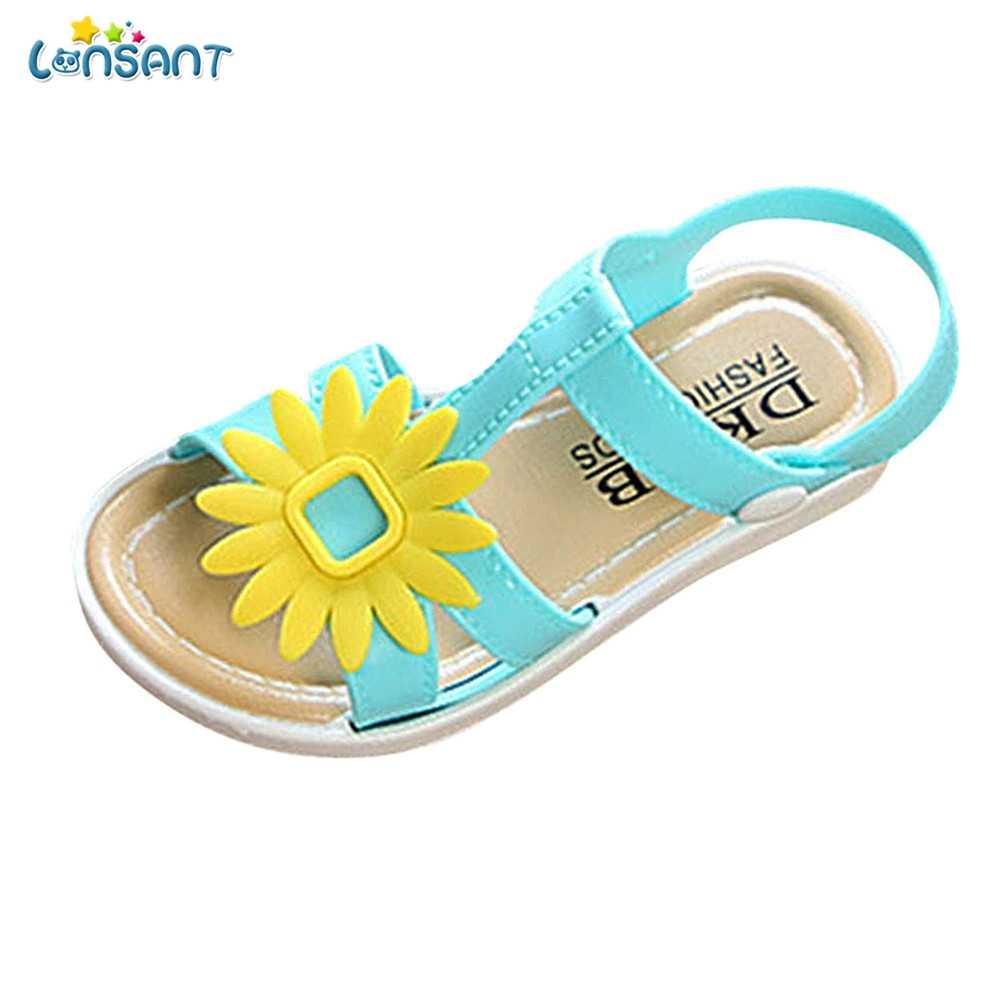LONSANT 2018 הכי חדש הגעה חמה אופנה חמוד ילדי ילדי תינוקות בנות חמניות החלקה נסיכת מקרית בנות נעליים