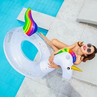 The New Adult Super Large Swimming Ring Summer Party Shiny Rainbow Unicorn Inflatable Seat Float Kids Gift Pool Toys Beach Party