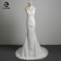 Robe De Mariee Custom Made White Ivory Tulle Beading Sequined Pearls Long Sleeve Wedding Dress Vestidos