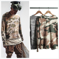 Hip Hop Streetwear Military Style Camouflage Pattern Thin Pullovers 2016 Justin Bieber Raw Edges Skateboards Tops Free Shipping
