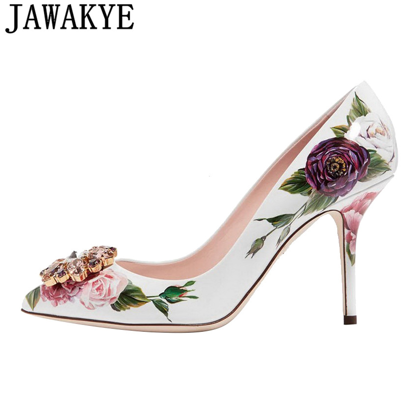 Spring summer rhinestone Shoes Women embroidery flower 10 cm 6cm high heels Pumps runway design bridal crystal wedding shoes рой о фантомная боль
