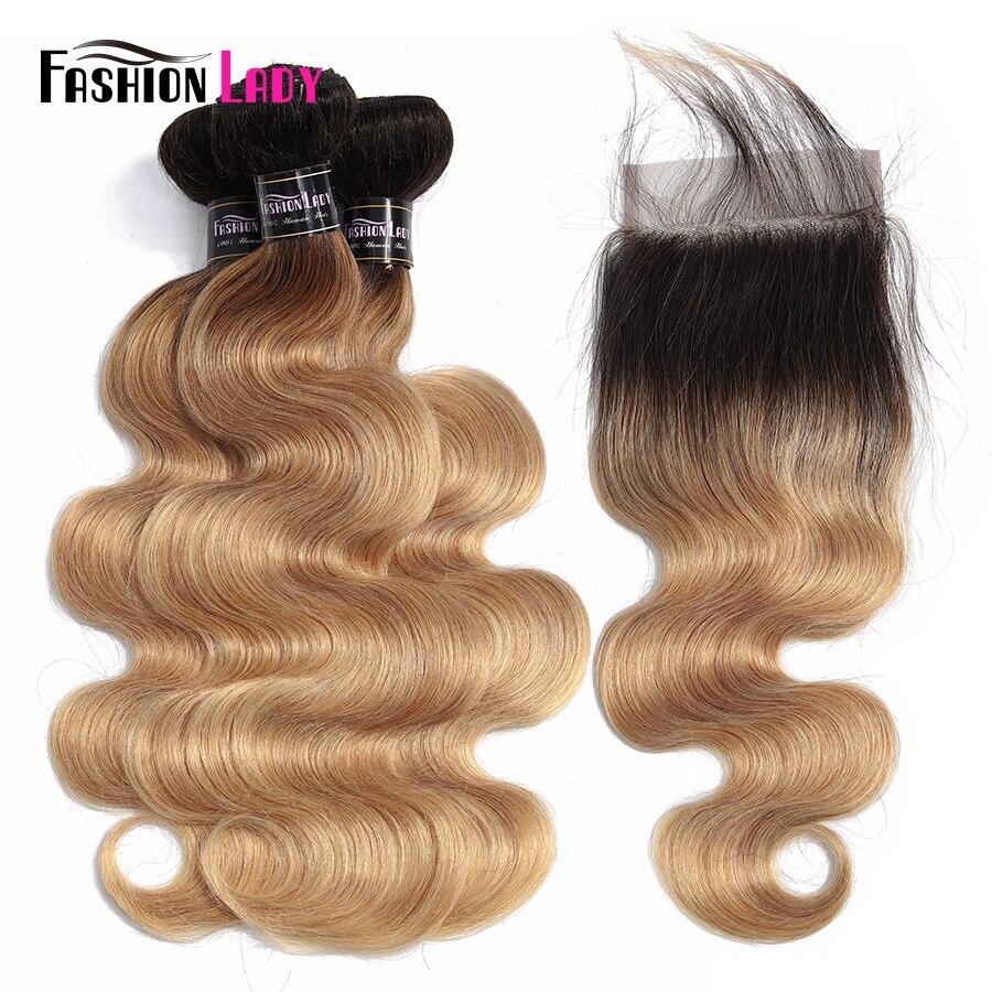 FASHION LADY Pre-Colored Ombre Bundles Brazilian Hair Bundles With Closure Bodywave 1B/27 3 Bundles With Closure 4x4 Non-Remy