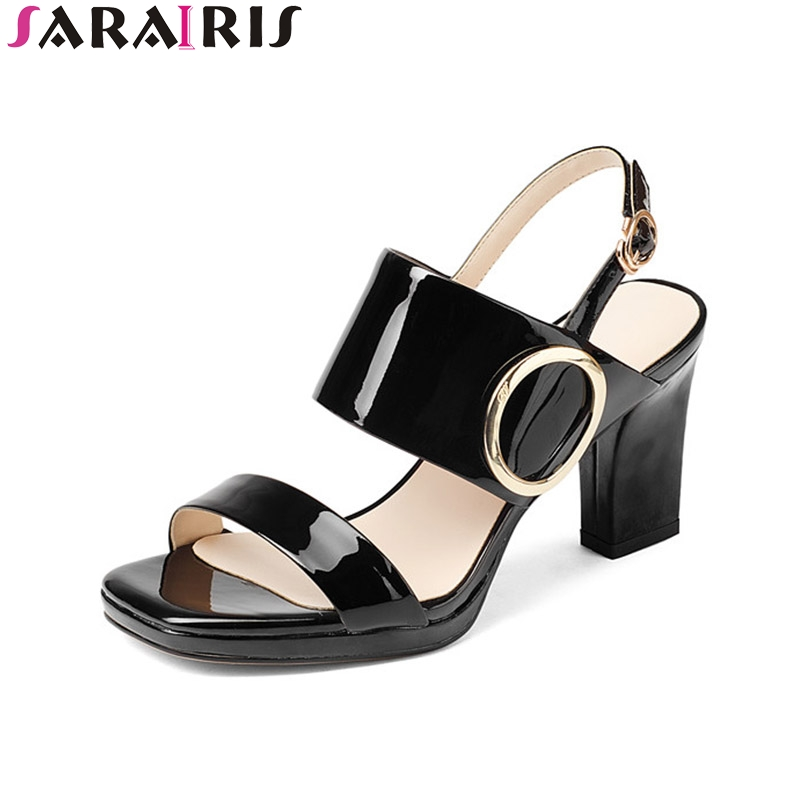 SaraIris 2018 Summer Genuine Leather Elegant Big Buckle Ankle Strap Sandals High Square Heel Casual Women Shoes Size 34-39 lucyever women vintage square toe flat summer sandals flock buckle casual shoes comfort ankle strap women footwear mujer zapatos
