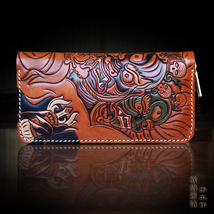 OLG YAT Italian Vegetable tanned cowhide handmade long section of zipper bag cowhide Mahakala handbag retro