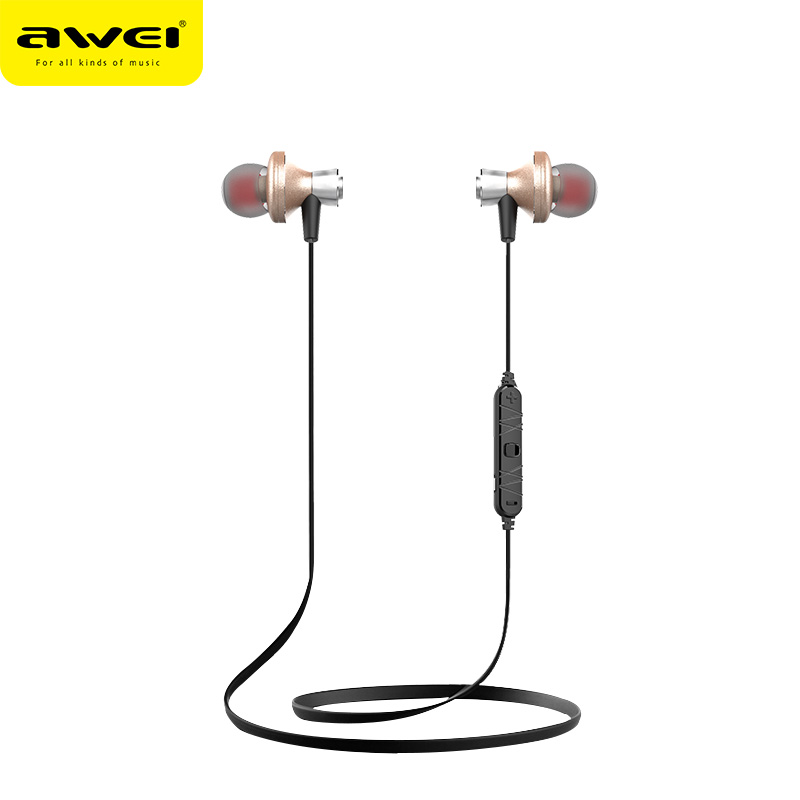 Awei A860BL Wireless Bluetooth Sport Running Stereo Earphone with Mic On-cord Control Noise Cancelling for Mobile Phone ultra light noise cancelling bluetooth earphone with mic