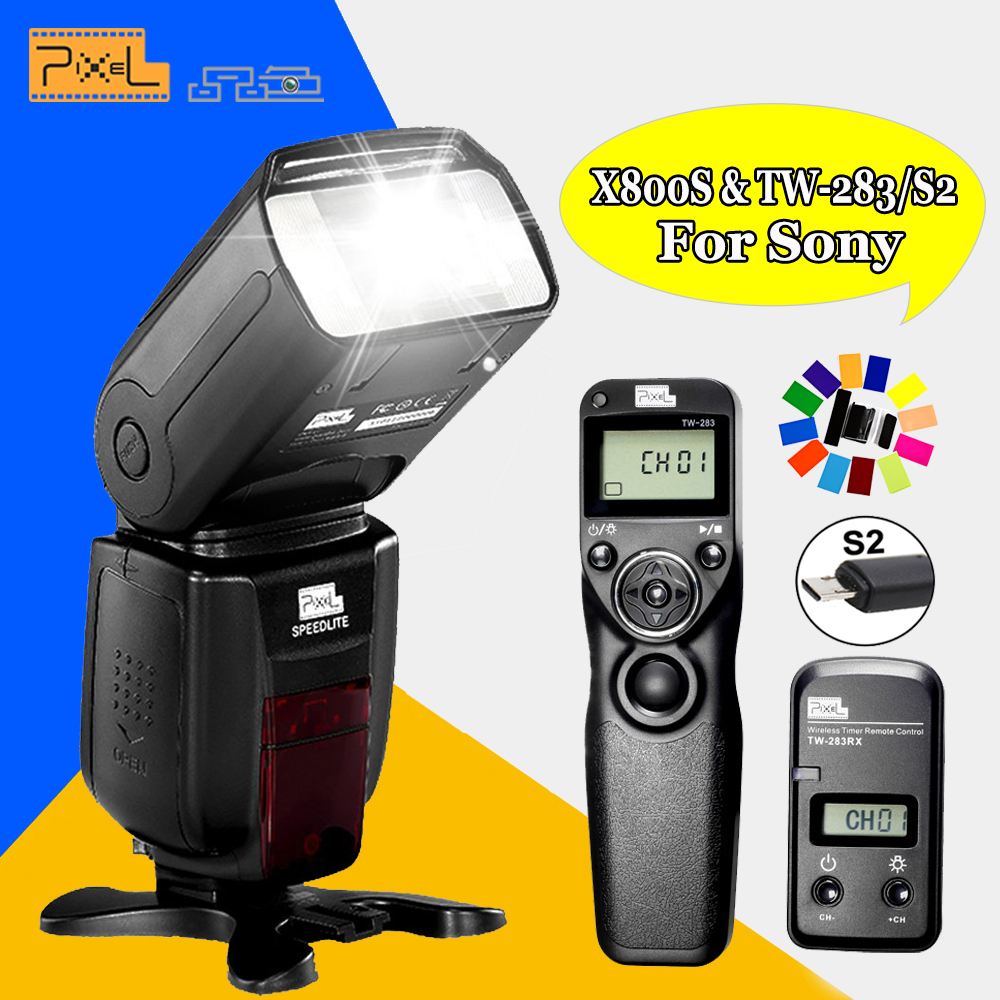 For Sony A58 A6000 A3000 A7 A7S A7II DSLR Pixel X800S Flash Speedlite & TW-283/S2 Wireless Timer Remote Control Shutter Release катушка lucky john anira spin 7 3000 fd