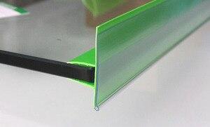 Image 4 - ポップミドルクランプ緑透明棚チケットクリップデータストリップガラス木製クリップ棚価格トーカラベルホルダーチャンネル