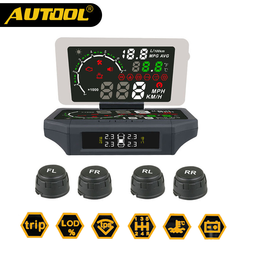 AUTOOL Car TPMS HUD Head Up Display 3-IN-1 AUTO OBD2 Smart HUD Holder With TPMS Monitor KMH/MPH OBDII Display Panel Meter X360 a900 3 5 inch car hud head up display obdii interface