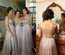 Fashion Cap Sleeve V Neck A Line Bridesmaid Dress Bead Appliques Maid of Honor Chiffon Backless