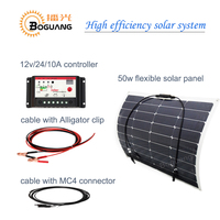 BOGUANG 50 w 12 v zonnepaneel power bank Diy systeem Hoge efficiency monokristallijn silicium cell panel 10A controller MC4 kabel