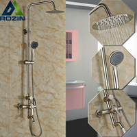 Good Quality 8 Stainless Steel Rain Shower Faucet Kit Single Handle Swivel Tub Filler 3 Functions