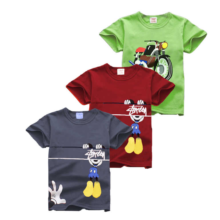 Enfants fille garçon T-shirt coton à manches courtes T-shirt impression enfants dessin animé gris rouge garçons T-shirt vêtements pour enfants