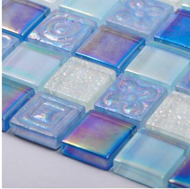 Glass Tile Borders Bathroom: Iridescent Embossed Sky Blue White Crystal Glass Mosaic