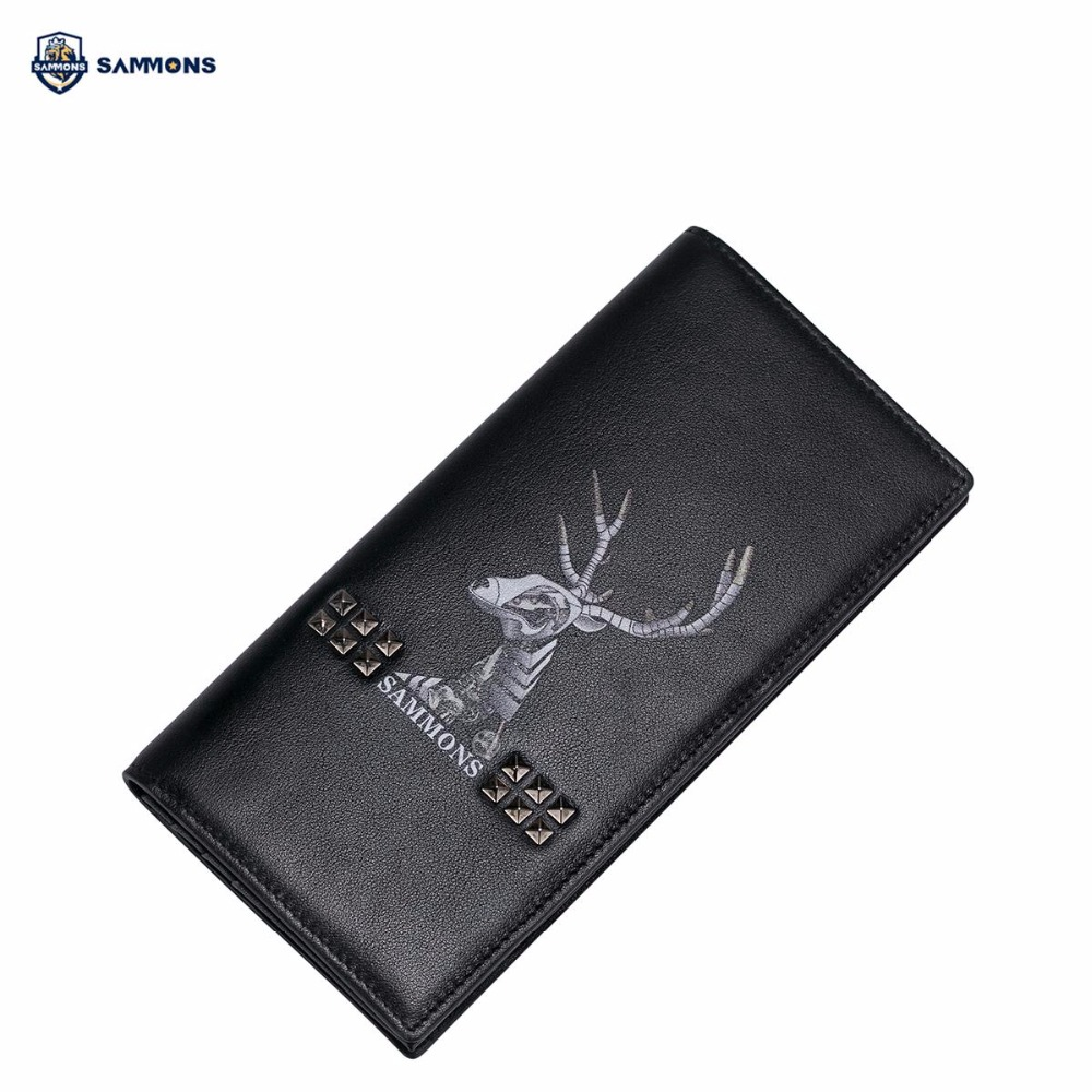 SAMMONS Brand Design Fashion Punk Printing Rivets Genuine Cow Leather Casual Men Long Fold Wallet Cards Holder fundamentals of renewable energy processes