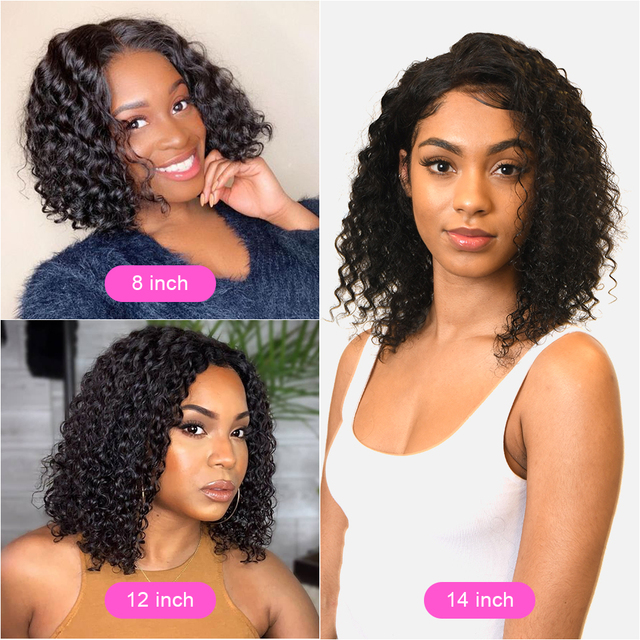 Jerry Curly Lace Front Human Hair Wigs With Baby Hair Brazilian Remy Hair Short Curly Bob Wigs