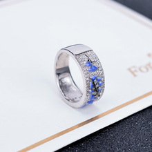 Funmor Enamel Flower Ring 925 Sterling Silver Finger Jewelry AAA Zircon Women Female Engagement Banquet Ornaments Bijoux Gifts